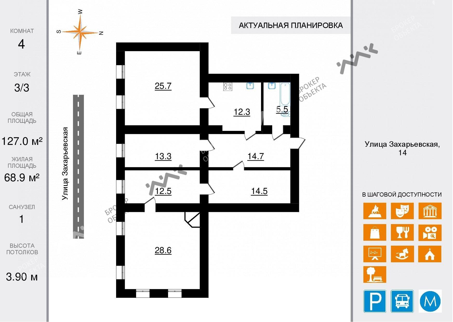 Планировка Захарьевская ул., д.14. Лот № 47988047