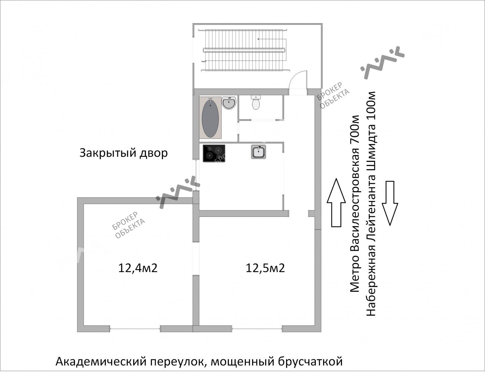 Планировка 7-я В.О. линия, д.4/7. Лот № 5212564