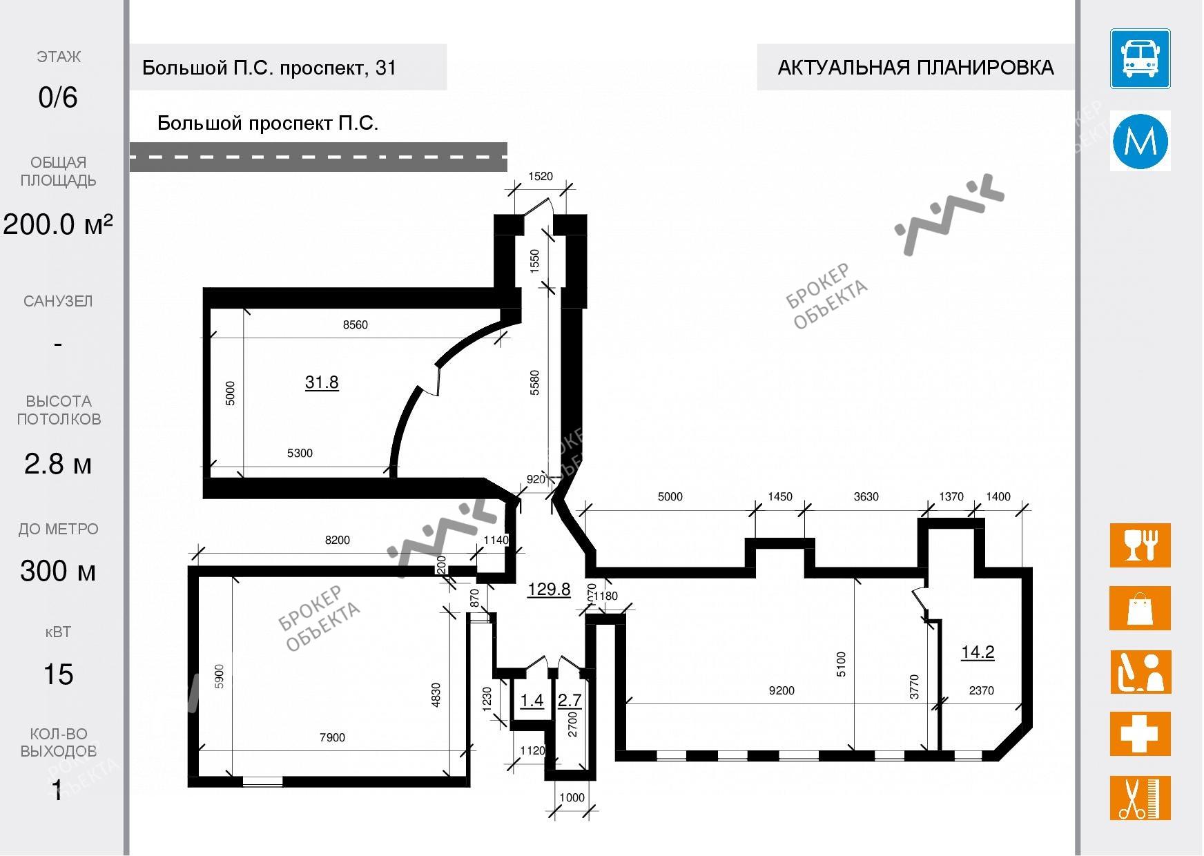 Планировка Большой П.С. проспект, д.31. Лот № 1548603
