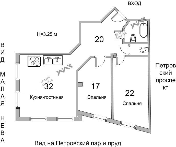 Планировка Петровский проспект, д.14. Лот № 8023990
