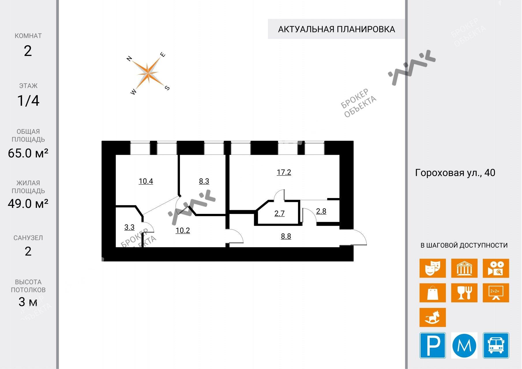 Планировка Гороховая ул., д.40. Лот № 7705553