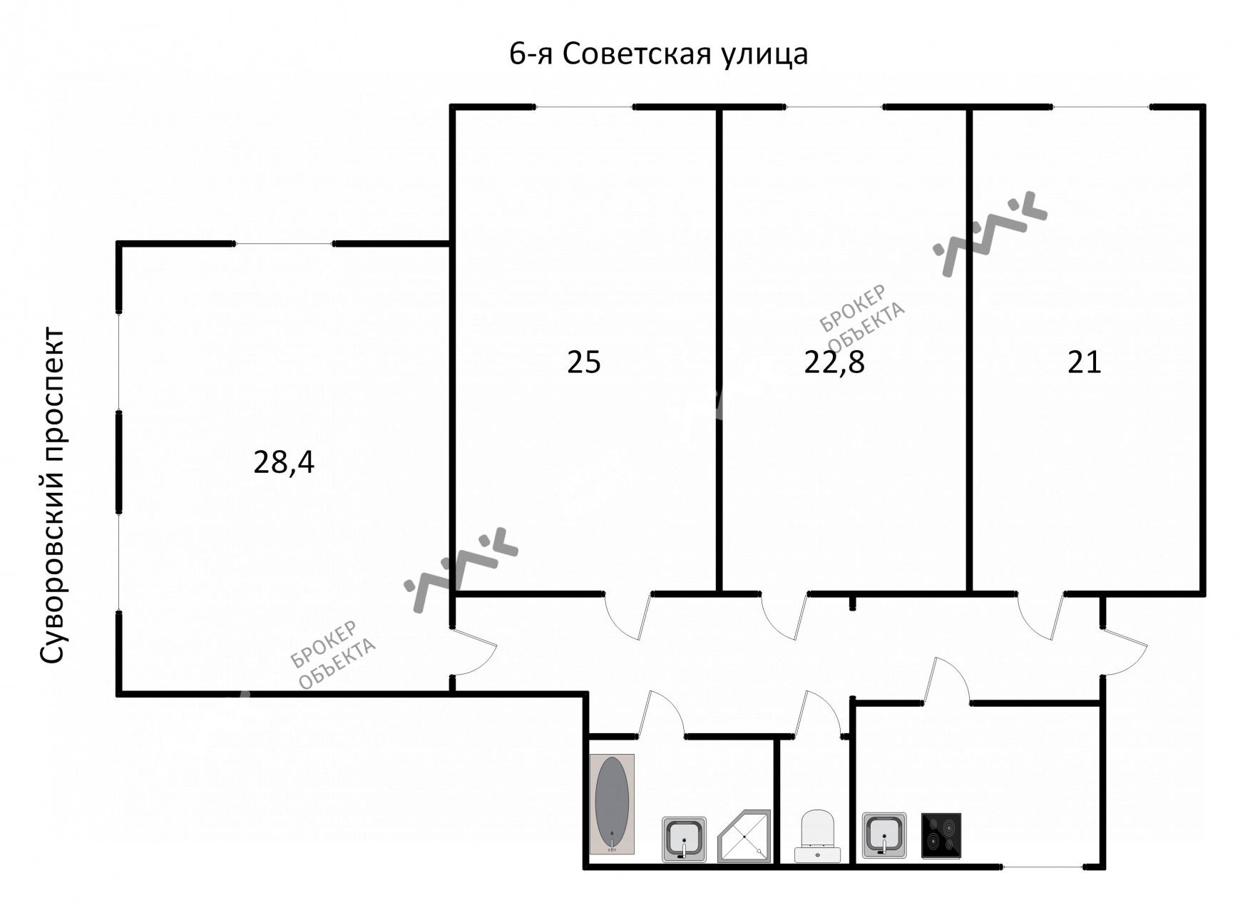 Планировка Суворовский проспект, д.15. Лот № 758830
