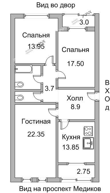 Планировка Медиков проспект, д.10, к.1. Лот № 7234638