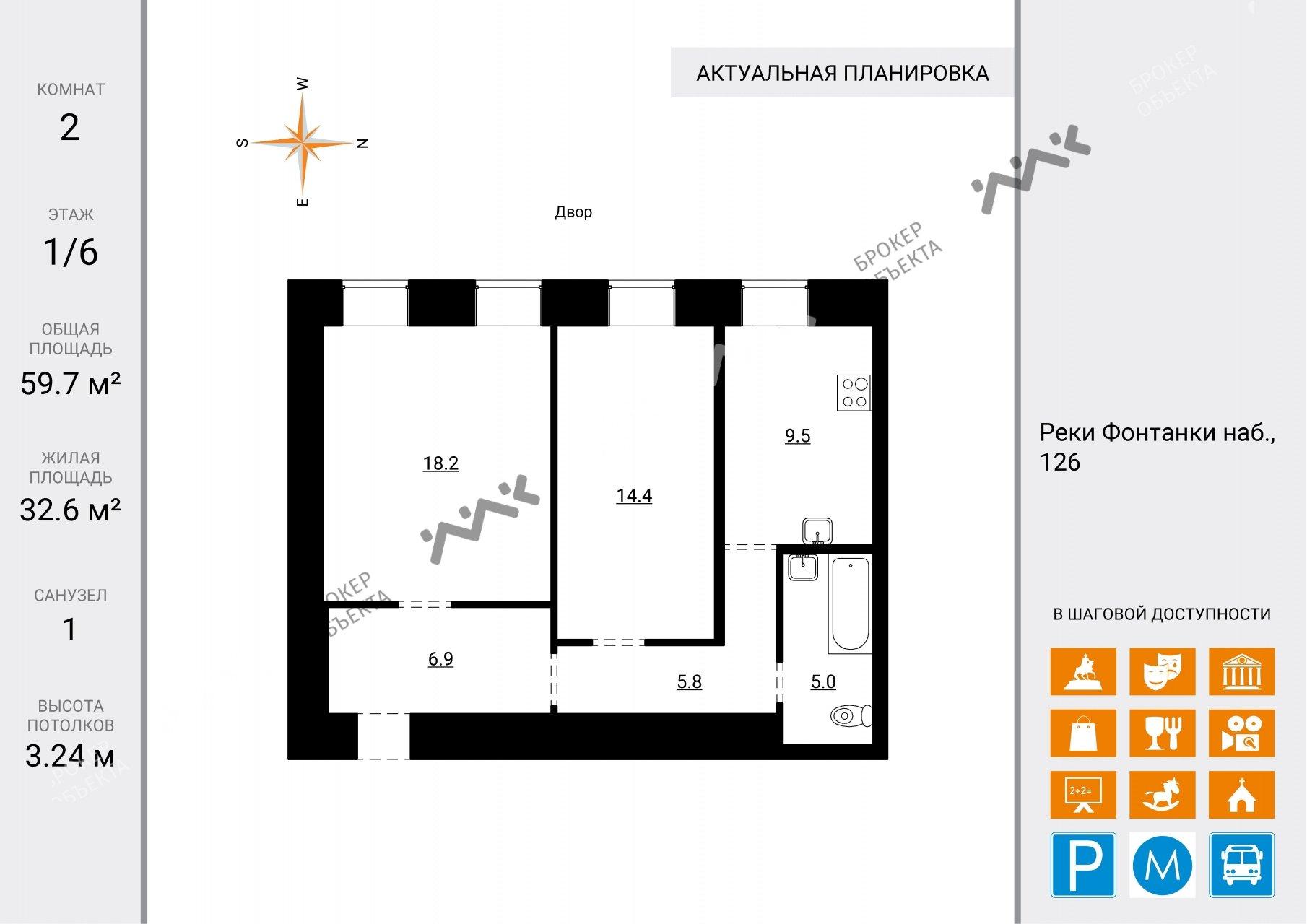 Планировка Реки Фонтанки наб., д.126. Лот № 12451236