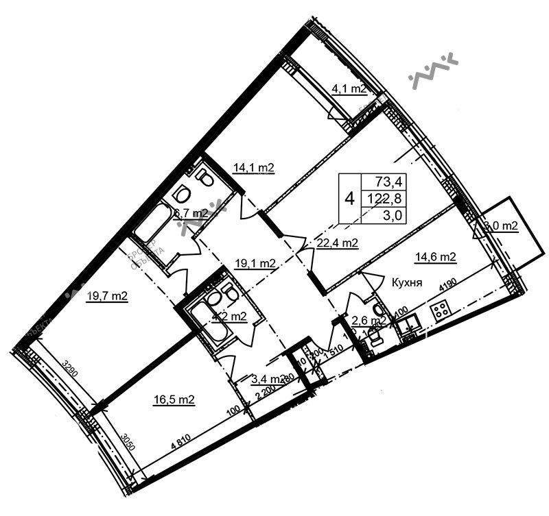 Планировка Приморский, д.44, к.1. Лот № f3268499