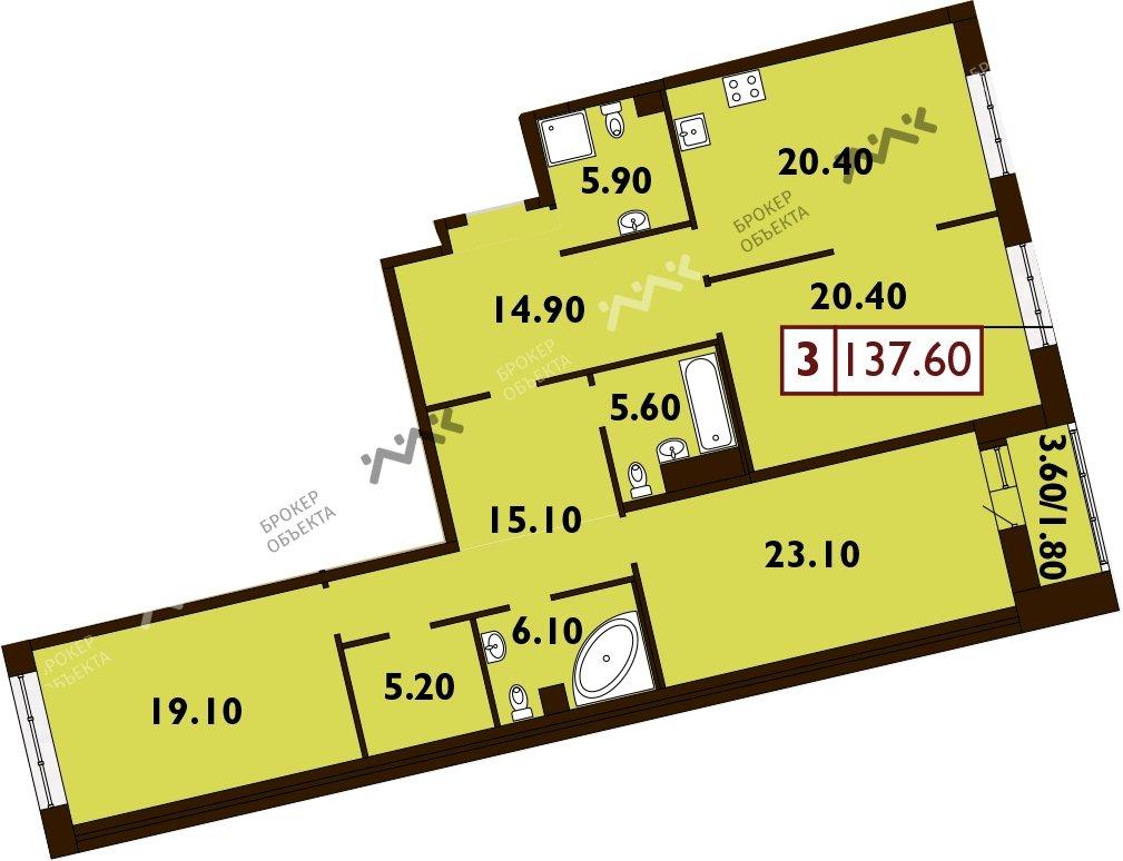 Планировка Смоленская ул., д.14. Лот № f3268876