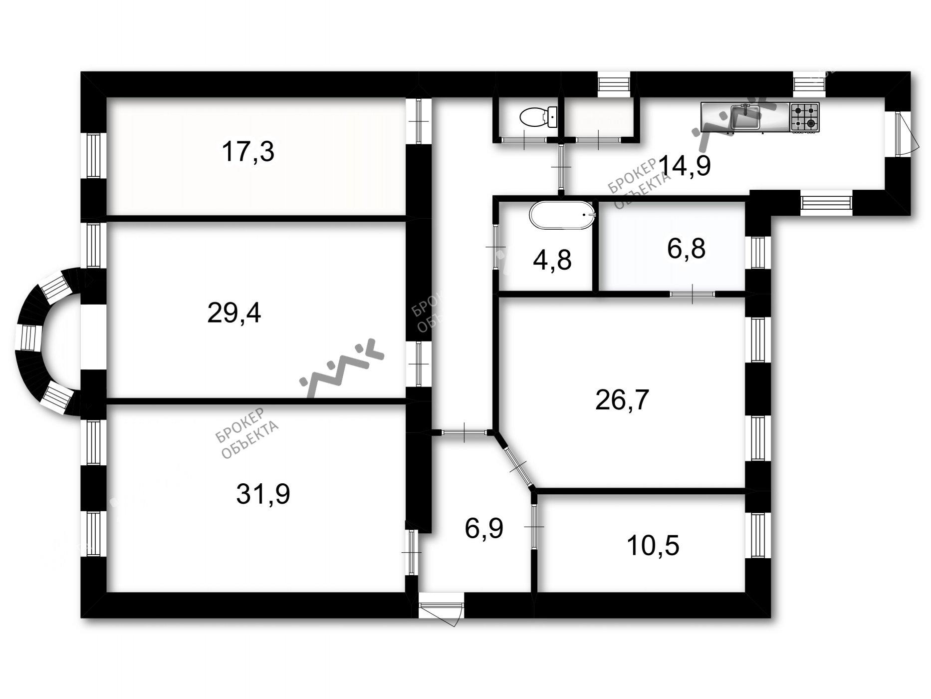 Планировка Большой П.С. проспект, д.24. Лот № 1032774