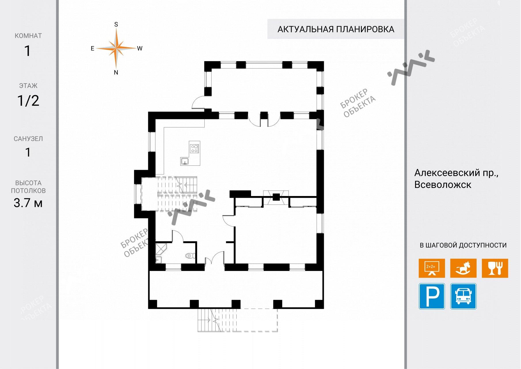 Планировка Алексеевский проспект, д.82. Лот № 7845456