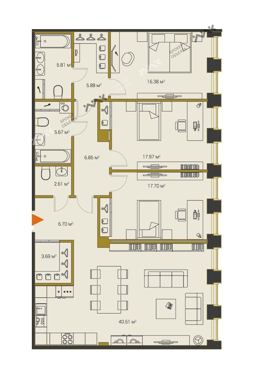 Планировка Институтский проспект, д.16. Лот № f18313203