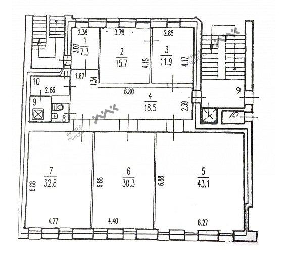 Планировка Смоленская ул., д.1, лит.Д. Лот № 22890611