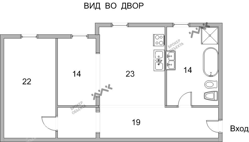 Планировка Римского-Корсакова пр., д.1. Лот № 3025994