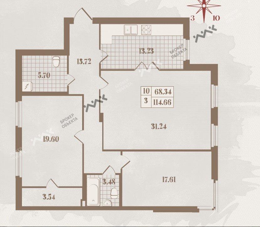Планировка Большая Зеленина ул., д.34. Лот № 16199838