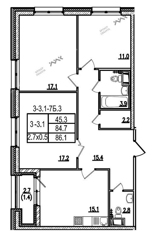 Планировка Кременчугская ул., д.21. Лот № 8670448