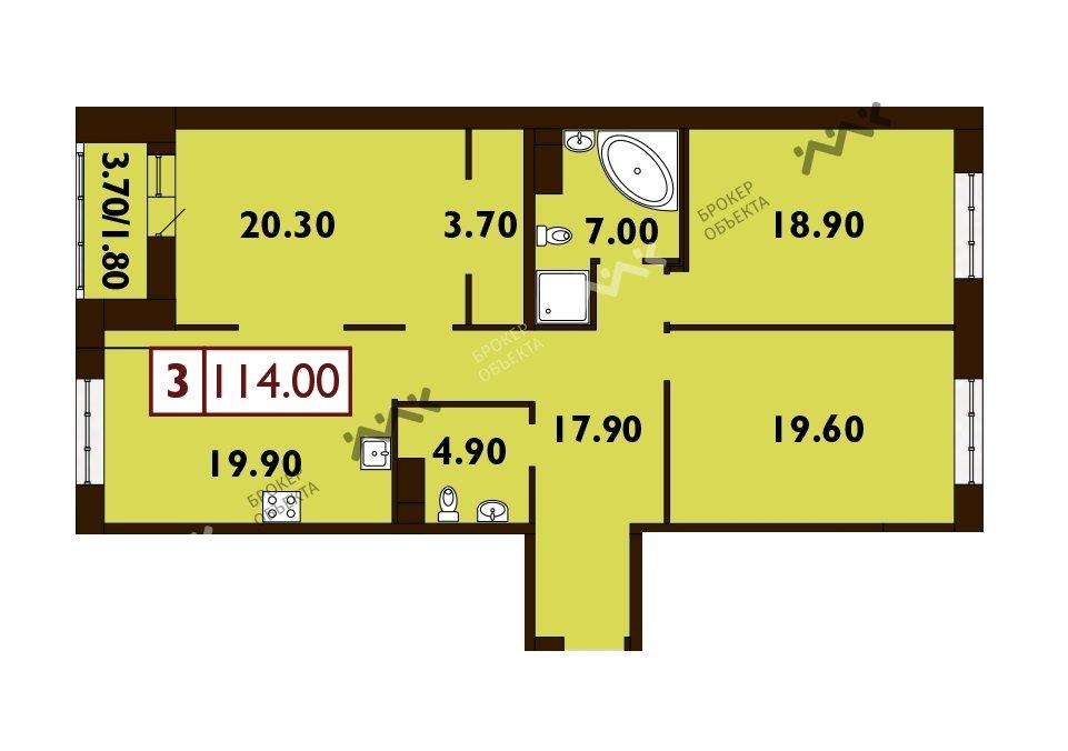 Планировка Смоленская ул., д.14. Лот № f3268783