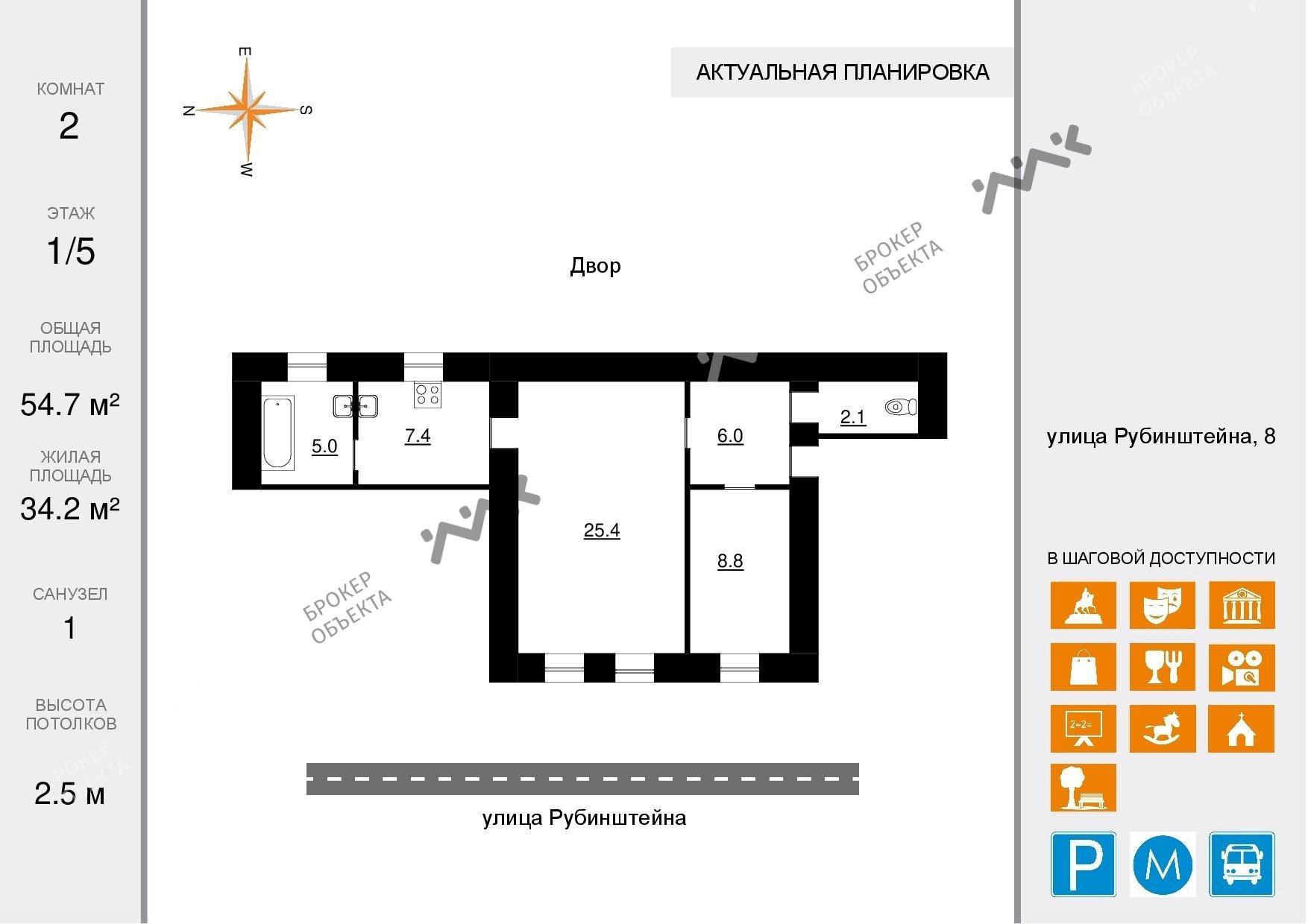 Планировка Рубинштейна ул., д.8. Лот № 15156685