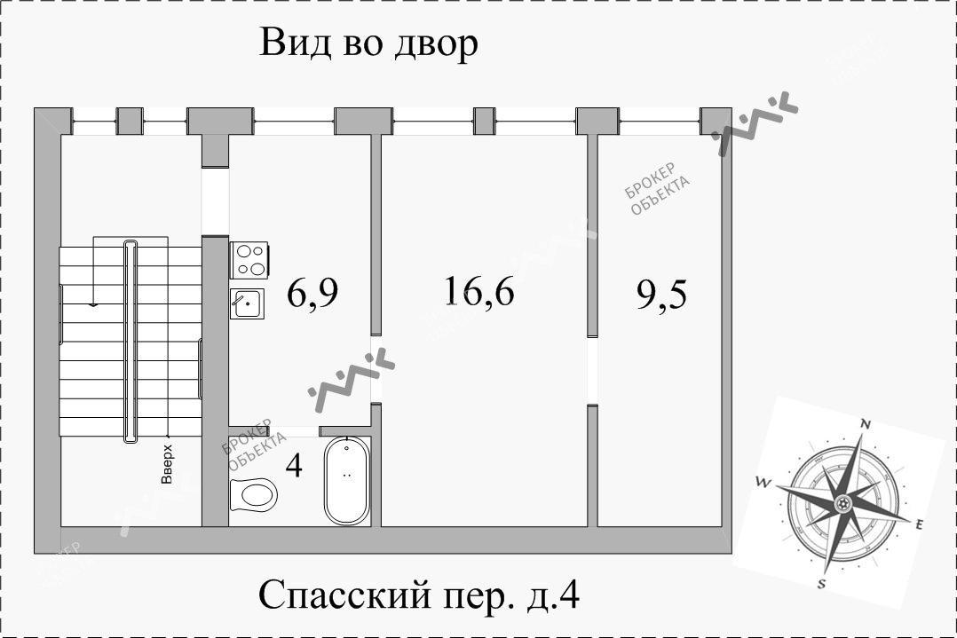 Планировка Спасский пер., д.4. Лот № 5805391
