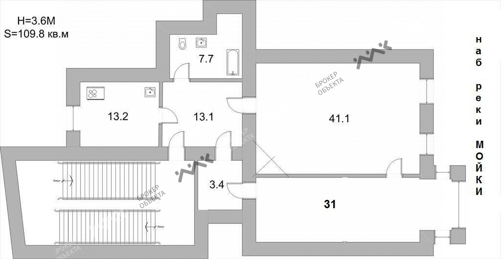 Планировка Реки Мойки наб., д.64. Лот № 759681