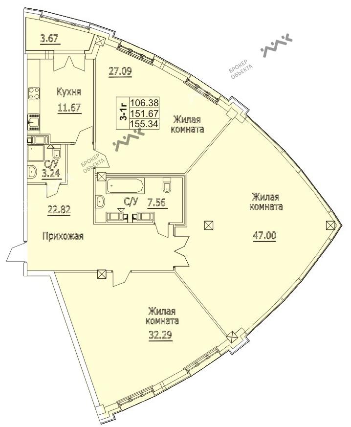 Планировка Пионерская пл., д.50. Лот № f3267570