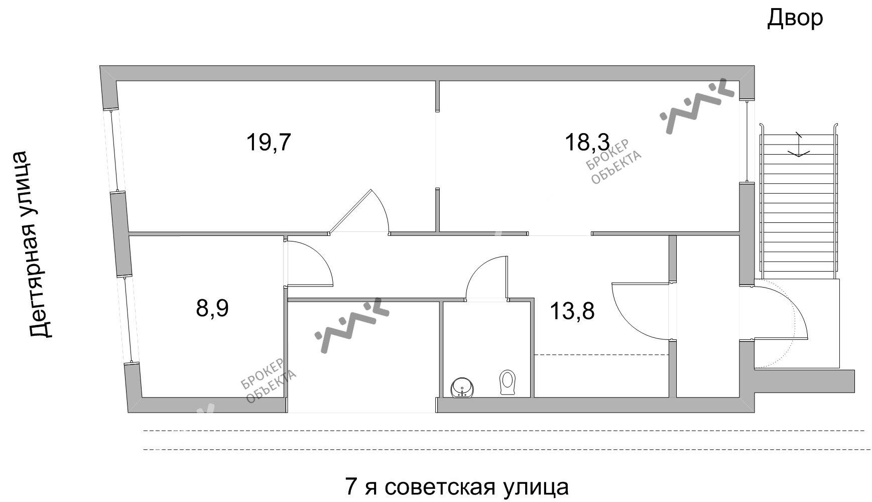Планировка 7-я Советская ул., д.23, лит.А. Лот № 1089111