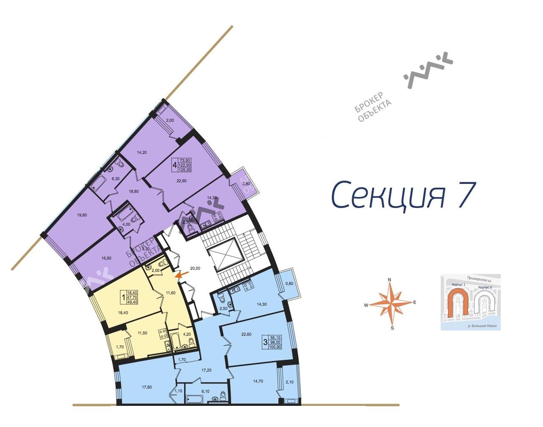 Планировка Приморский пр., д.46. Лот № f17961045