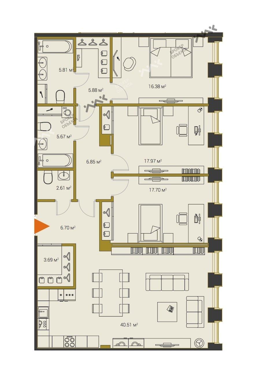 Планировка Институтский проспект, д.16. Лот № f18313191