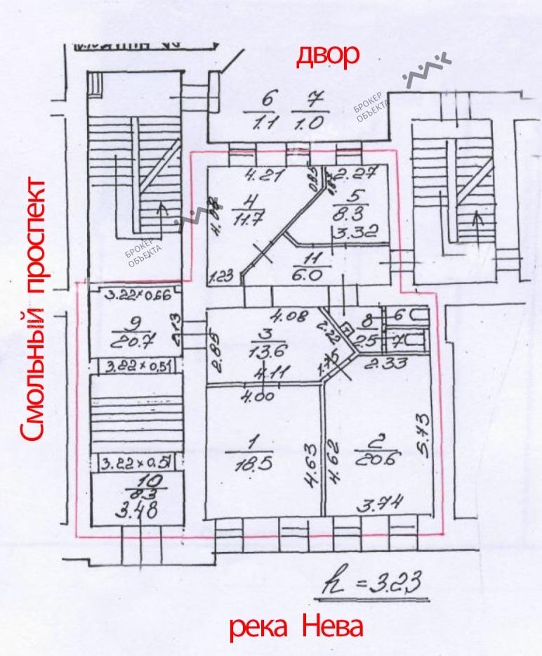 Планировка Смольный проспект, д.6. Лот № 899308