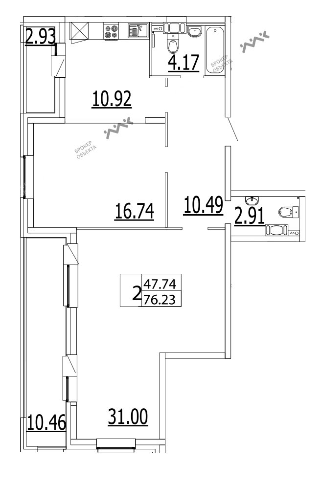 Планировка Приморский пр., д.52, к.1. Лот № f3268374