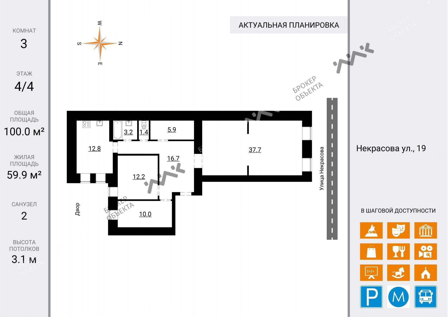 Планировка Некрасова ул., д.19. Лот № 2028830