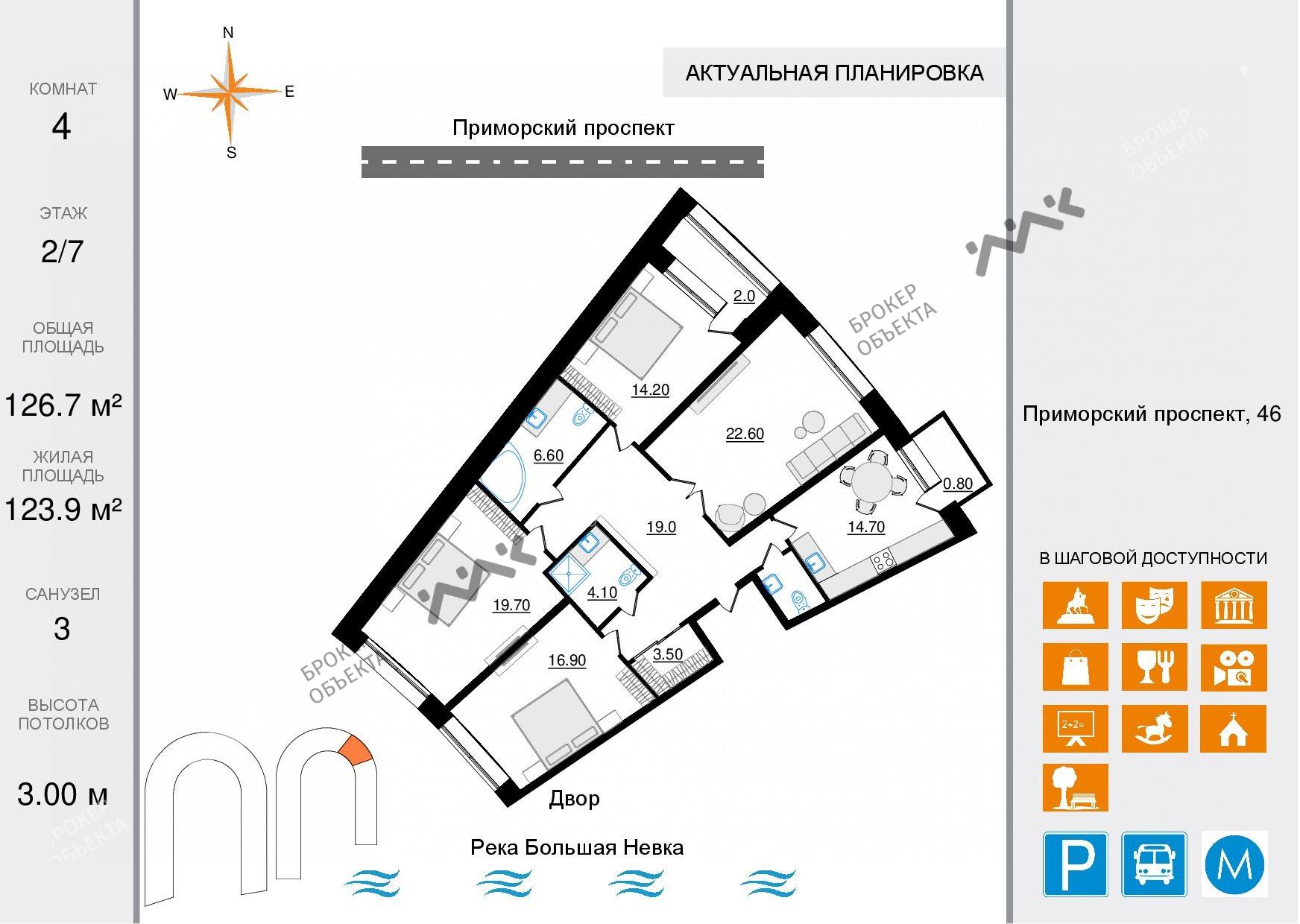 Планировка Приморский проспект, д.46. Лот № 47420049