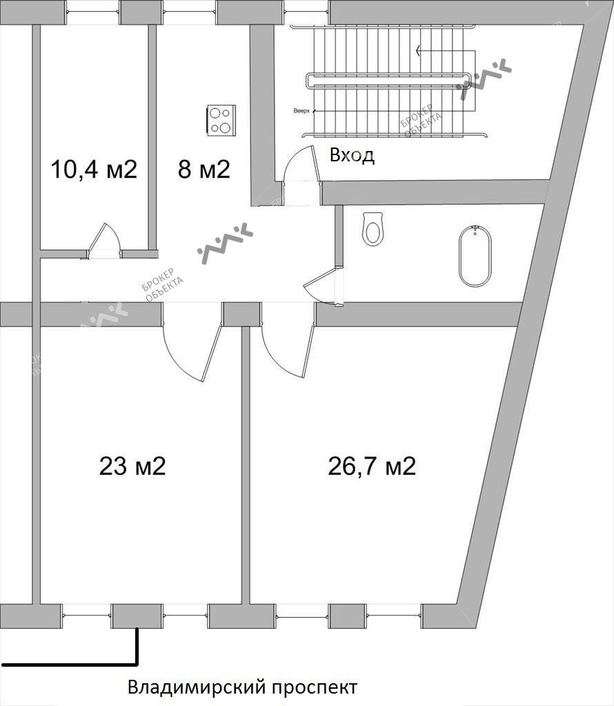 Планировка Владимирский проспект, д.3. Лот № 8604529