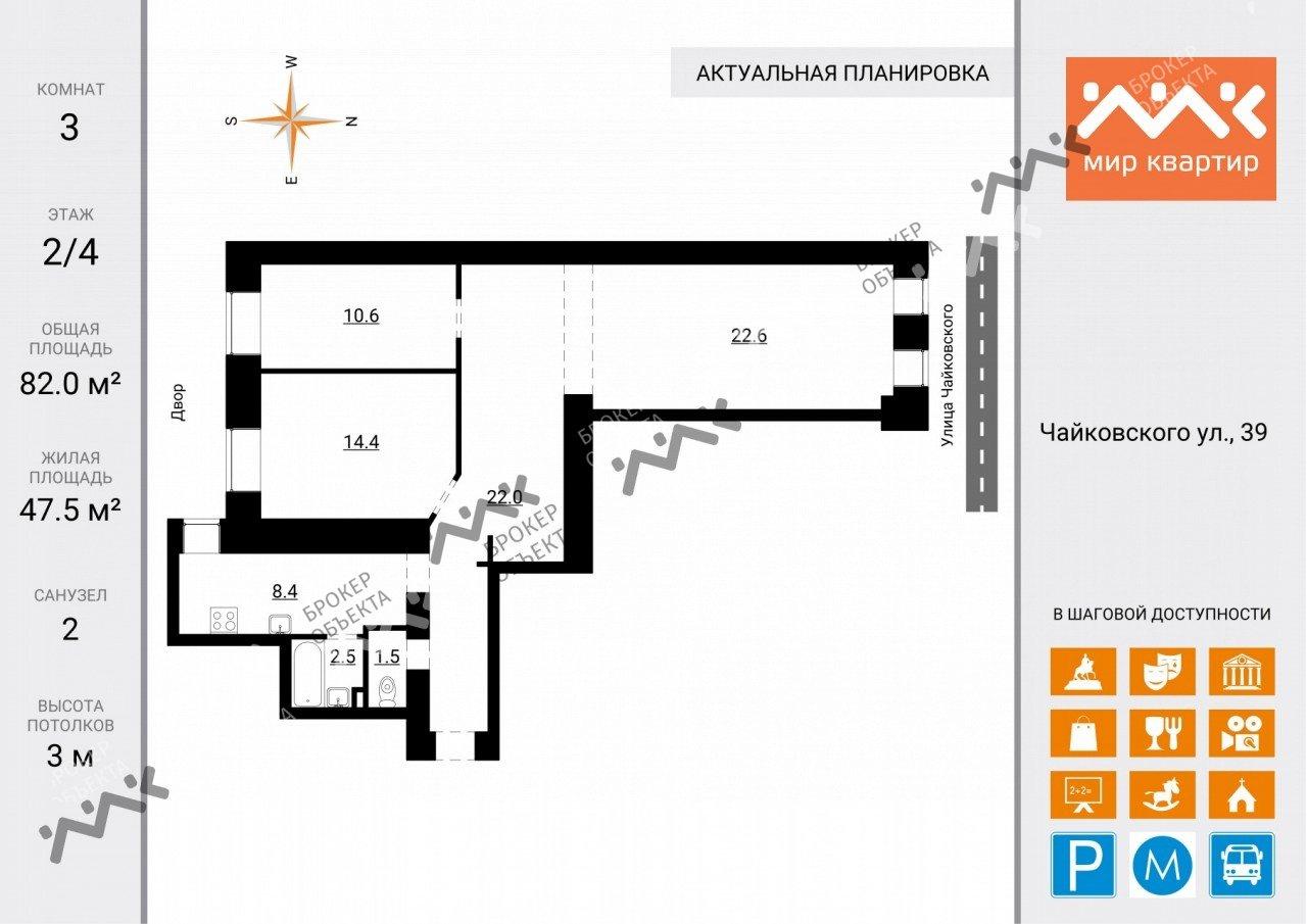 Планировка Чайковского ул., д.39. Лот № 24388664