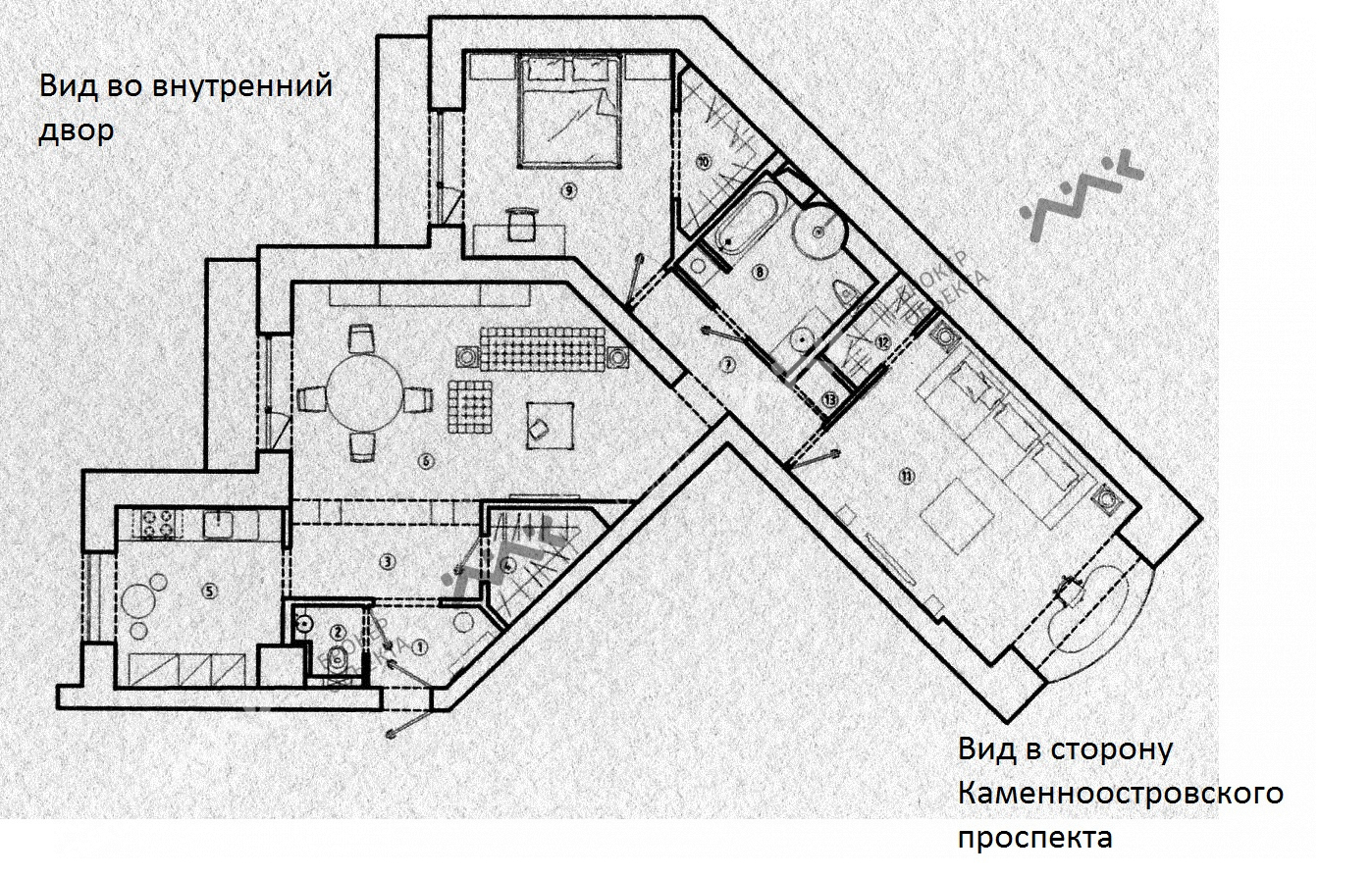 Планировка Реки Карповки наб., д.10. Лот № 759711