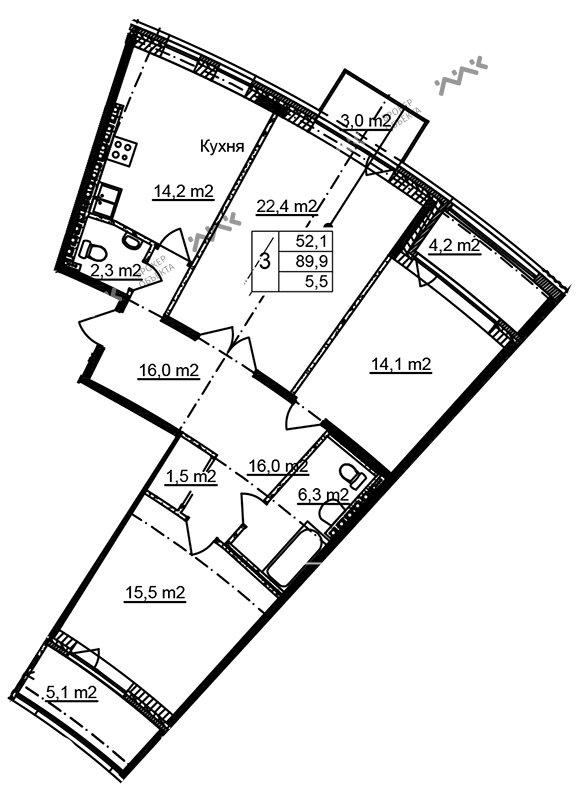 Планировка Приморский, д.44, к.1. Лот № f3268484