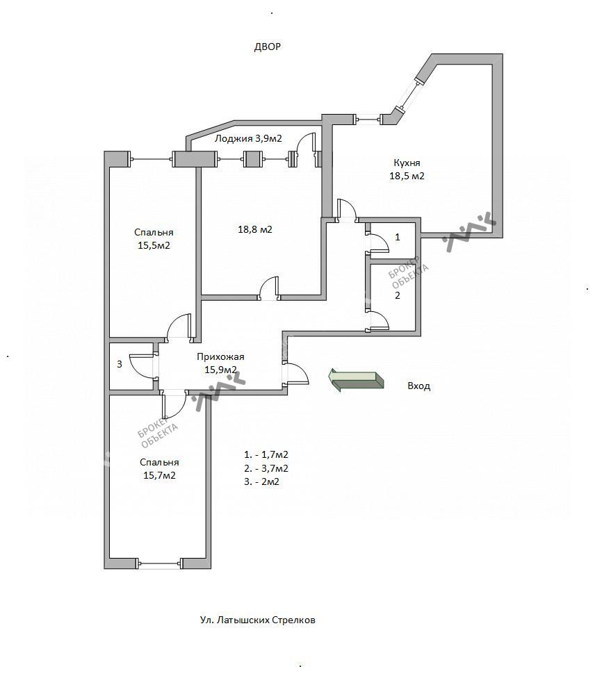 Планировка Латышских Стрелков ул., д.17, к.1. Лот № 5018806