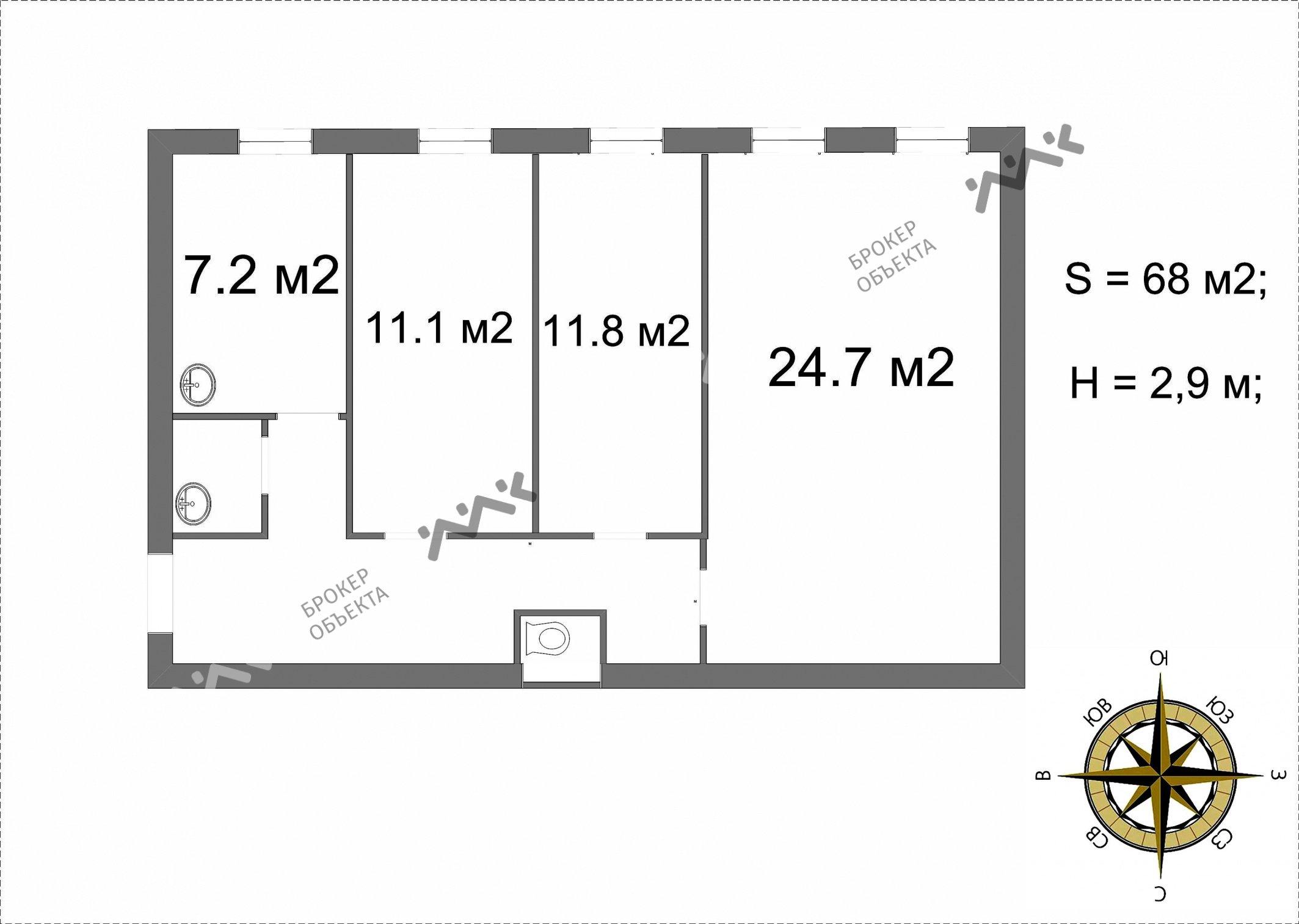Планировка Кропоткина ул., д.17, лит.Б. Лот № 3599145