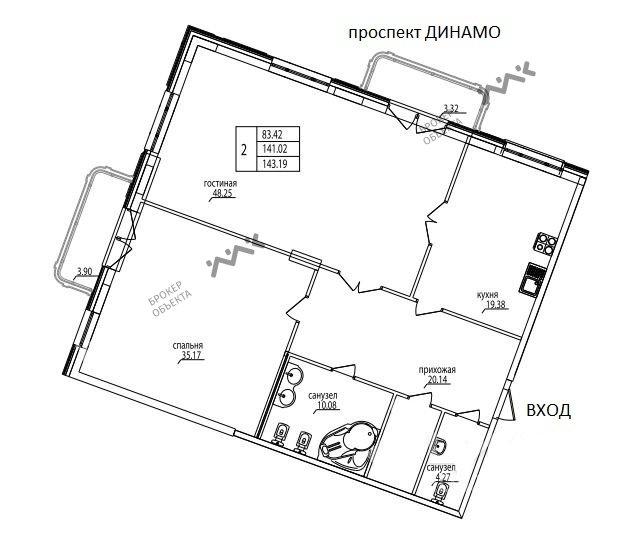 Планировка Динамо проспект, д.6. Лот № 6322034