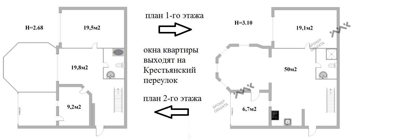Планировка Крестьянский пер., д.5. Лот № 7303586
