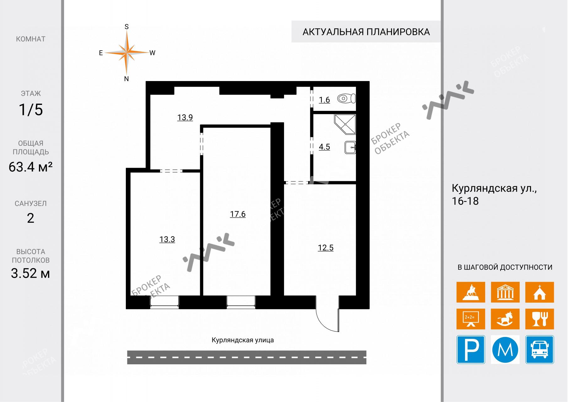 Планировка Курляндская ул., д.16-18, лит.А. Лот № 8057774
