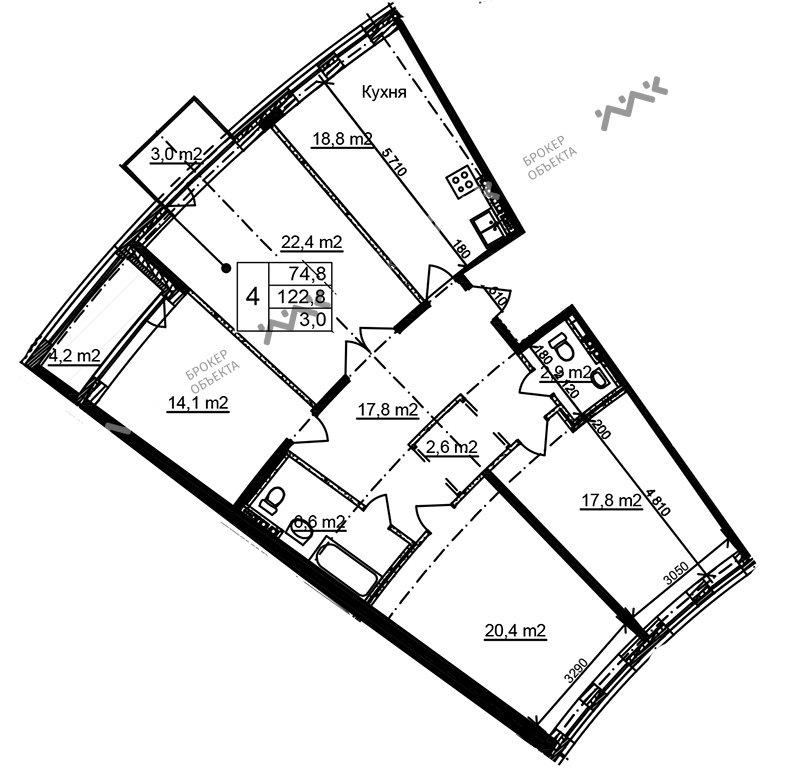 Планировка Приморский, д.44, к.1. Лот № f3268479