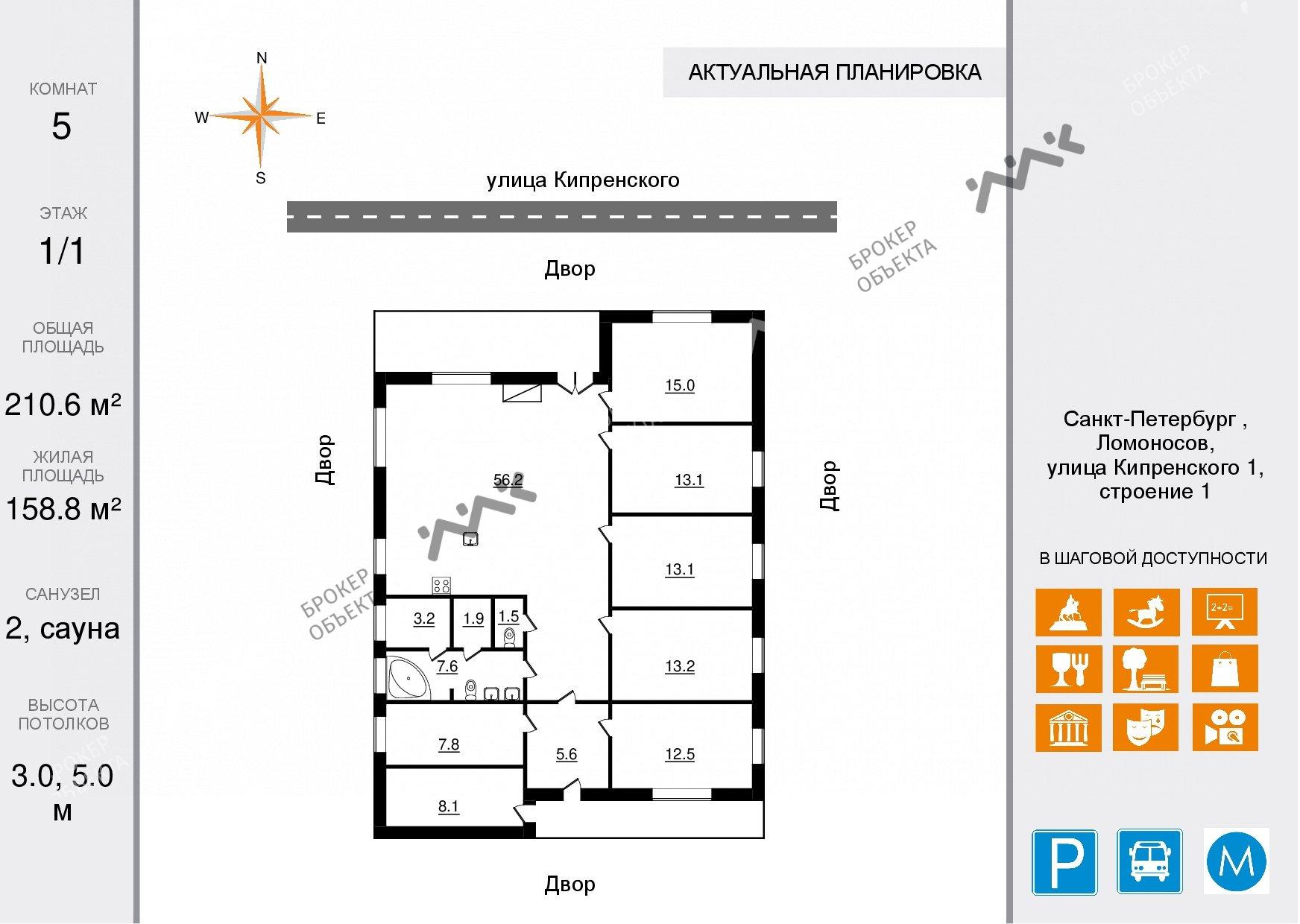 Планировка Кипренского ул., д.1. Лот № 18245280