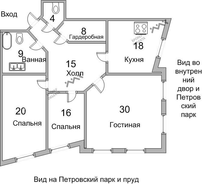 Планировка Петровский пр., д.14. Лот № 7872931