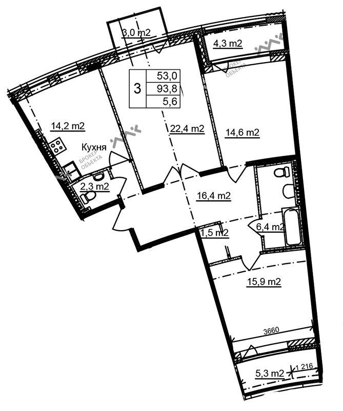 Планировка Приморский, д.44, к.1. Лот № f3268472