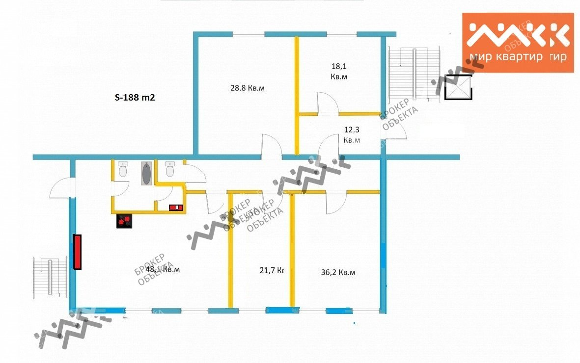 Планировка Рубинштейна ул., д.15-17. Лот № 3695657