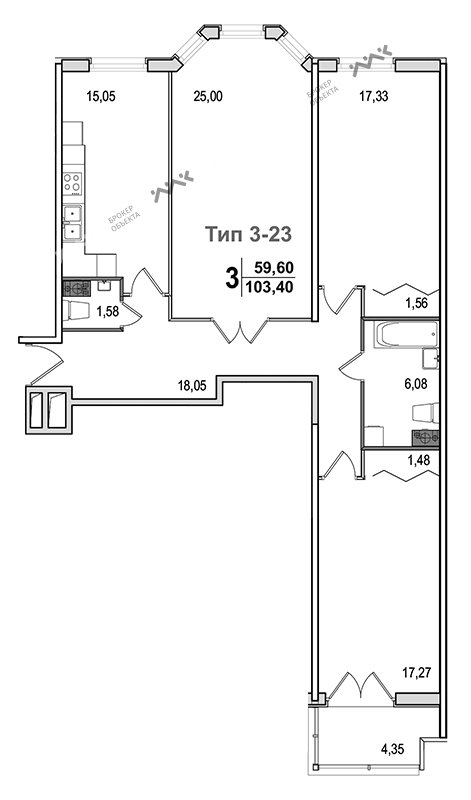 Планировка Малый В.О., д.52, к.1. Лот № f3271368