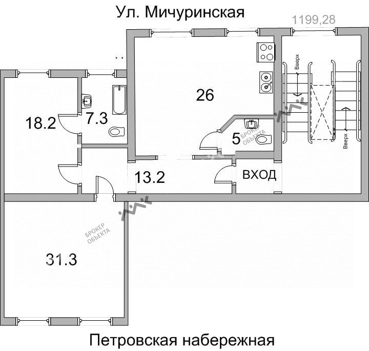 Планировка Петровская наб., д.4. Лот № 1297418