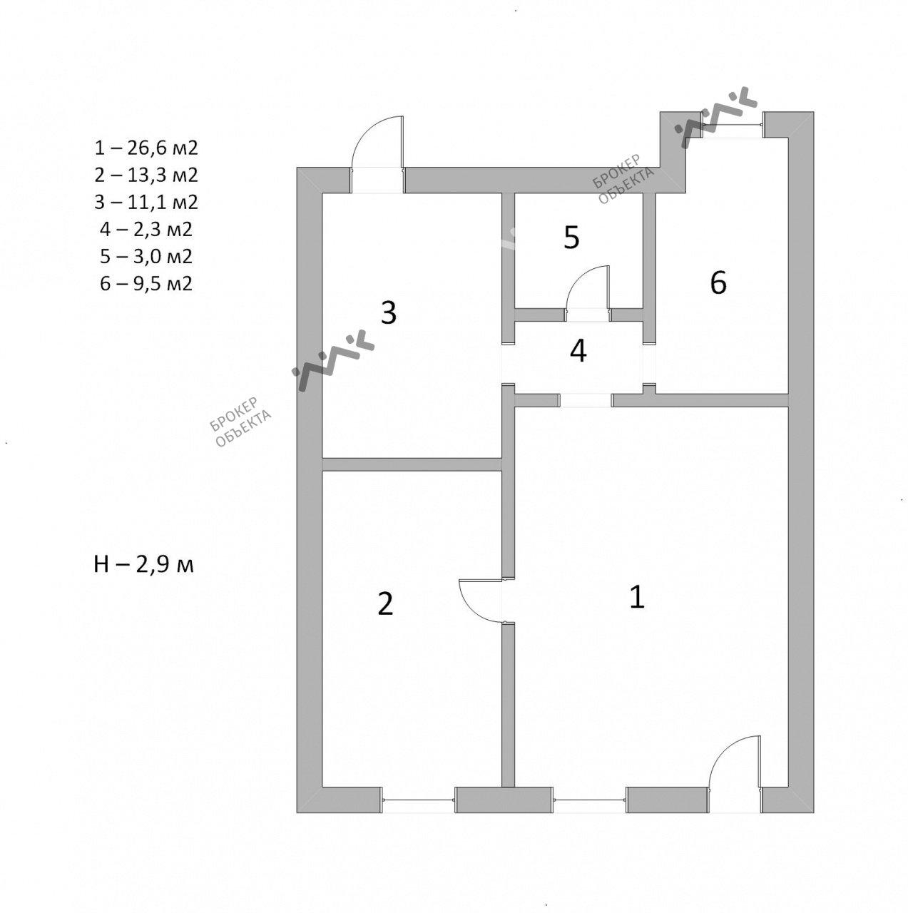 Планировка Соляной пер., д.5, лит.A. Лот № 6912644
