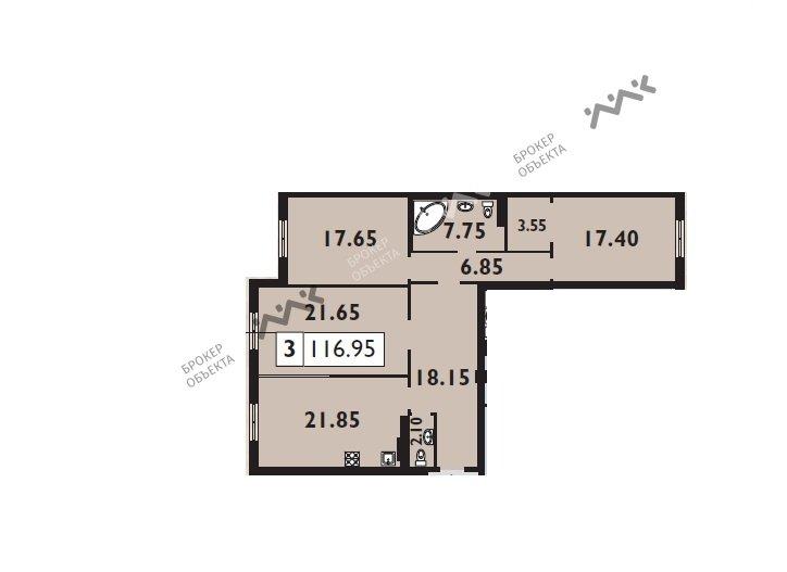 Планировка Басков пер., д.2. Лот № 5386539