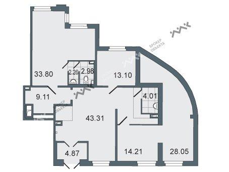 Планировка Заозерная ул., д.3. Лот № 1077083