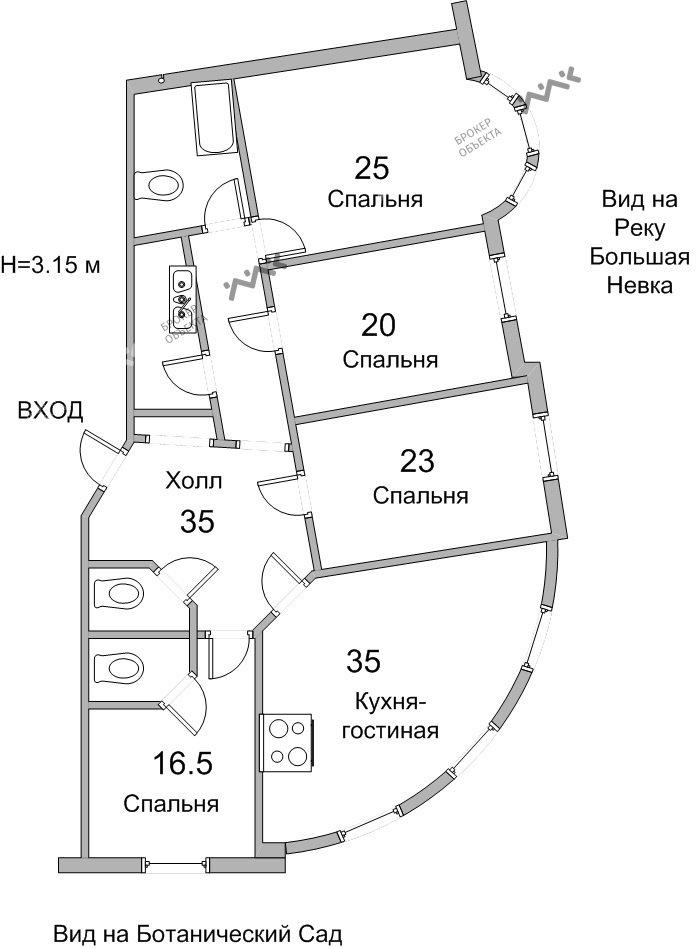 Планировка Аптекарская наб., д.6. Лот № 8504182