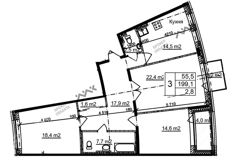 Планировка Приморский, д.44, к.1. Лот № f3268502
